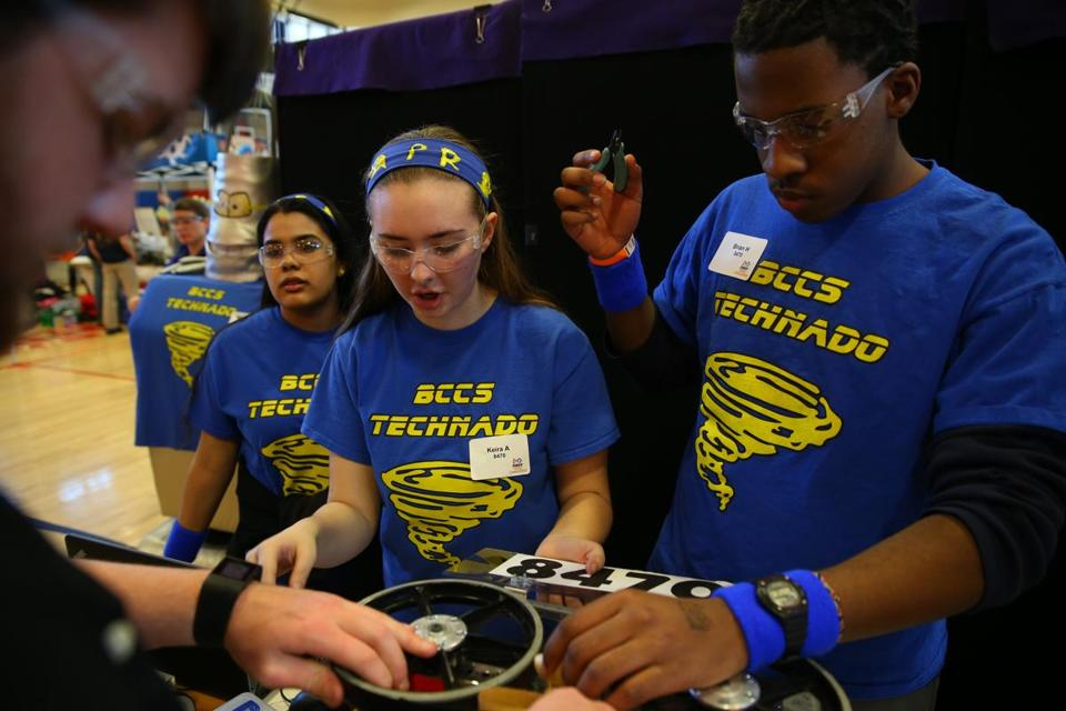 Above, Keira Ahern and Brian Hall from Boston Collegiate Charter School worked on their robot before the competition started.